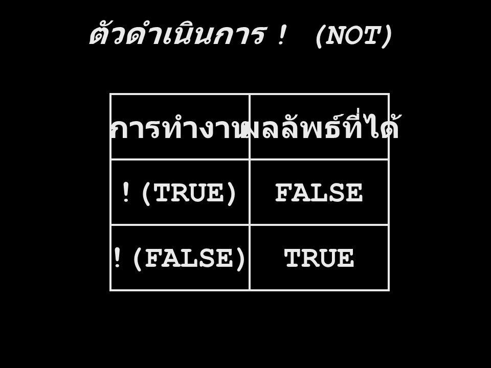 ตัวดำเนินการ ! (NOT) การทำงาน ผลลัพธ์ที่ได้ !(TRUE) FALSE !(FALSE) TRUE