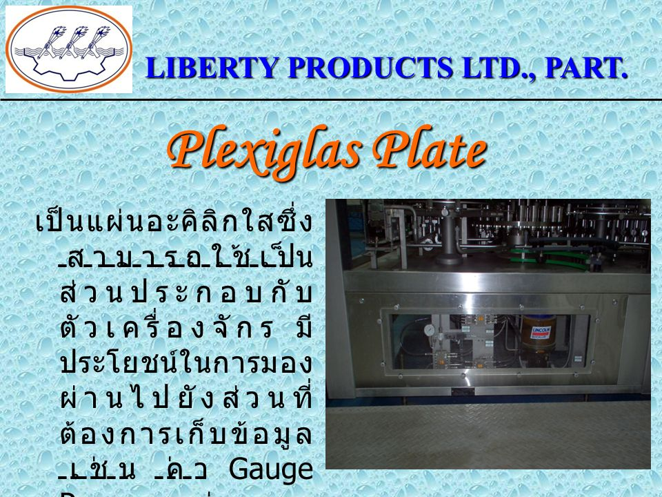 Plexiglas Plate LIBERTY PRODUCTS LTD., PART.