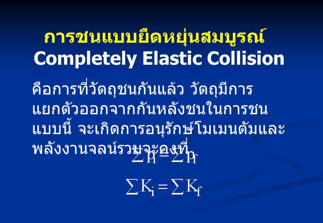 การชนแบบยืดหยุ่นสมบูรณ์ Completely Elastic Collision