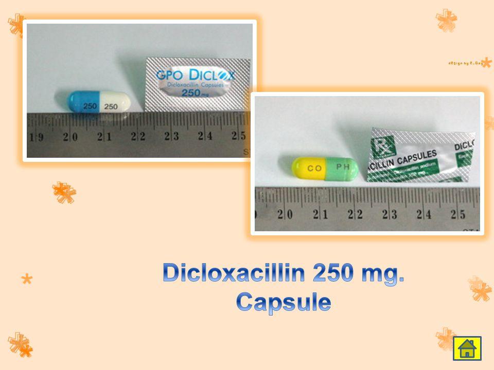 Dicloxacillin 250 mg. Capsule