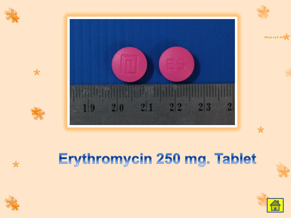 Erythromycin 250 mg. Tablet