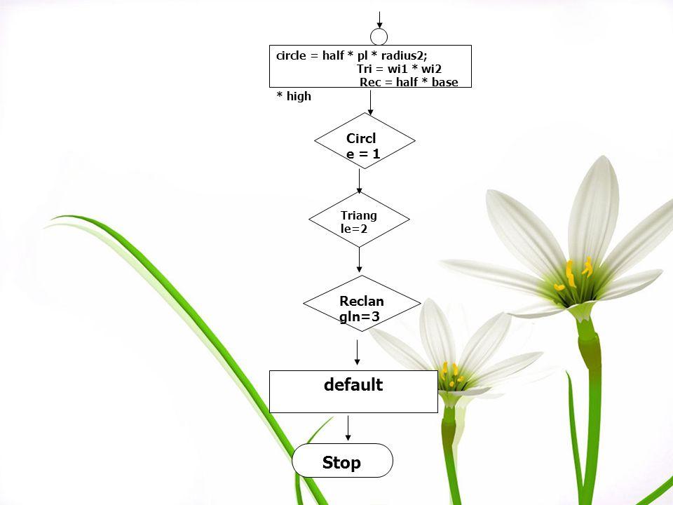 default Stop Circle = 1 Reclangln=3 circle = half * pl * radius2;