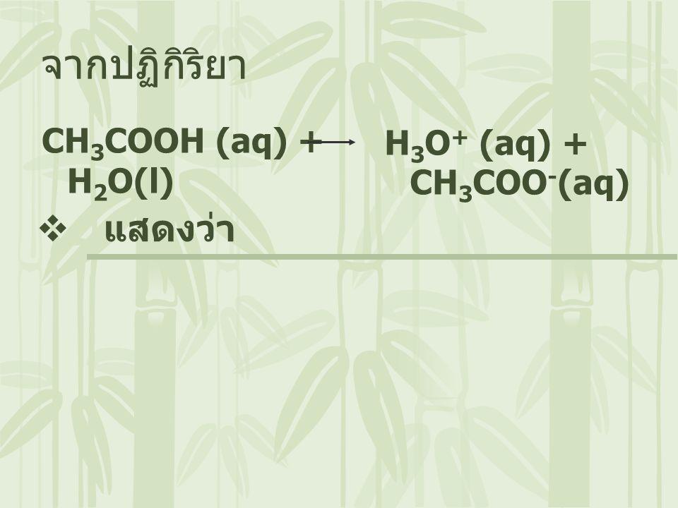 จากปฏิกิริยา CH3COOH (aq) + H2O(l) H3O+ (aq) + CH3COO-(aq) แสดงว่า
