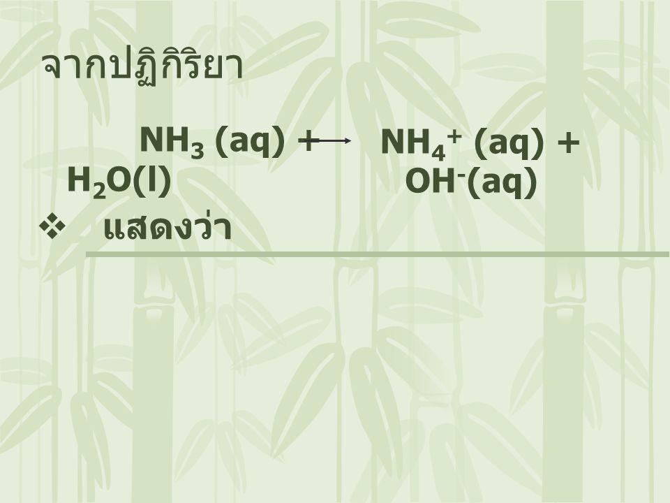 จากปฏิกิริยา NH3 (aq) + H2O(l) NH4+ (aq) + OH-(aq) แสดงว่า