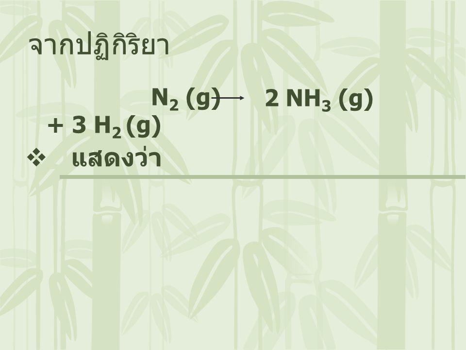 จากปฏิกิริยา N2 (g) + 3 H2 (g) 2 NH3 (g) แสดงว่า