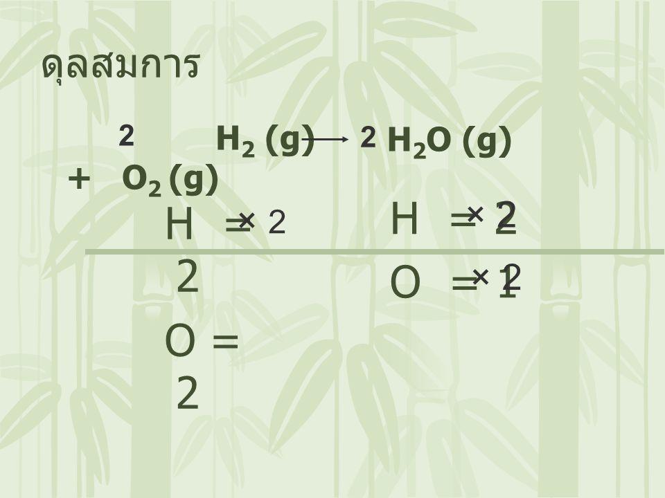 H = 2 H = 2 O = 1 O = 2 ดุลสมการ × 2 × 2 × 2 H2 (g) + O2 (g) H2O (g) 2
