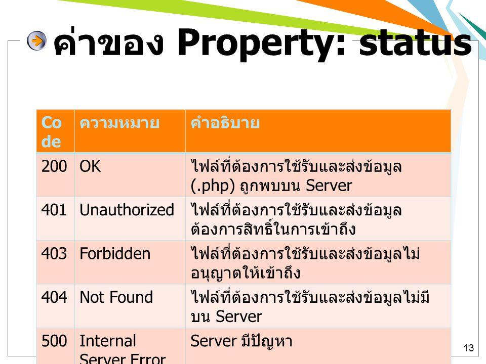 ค่าของ Property: status