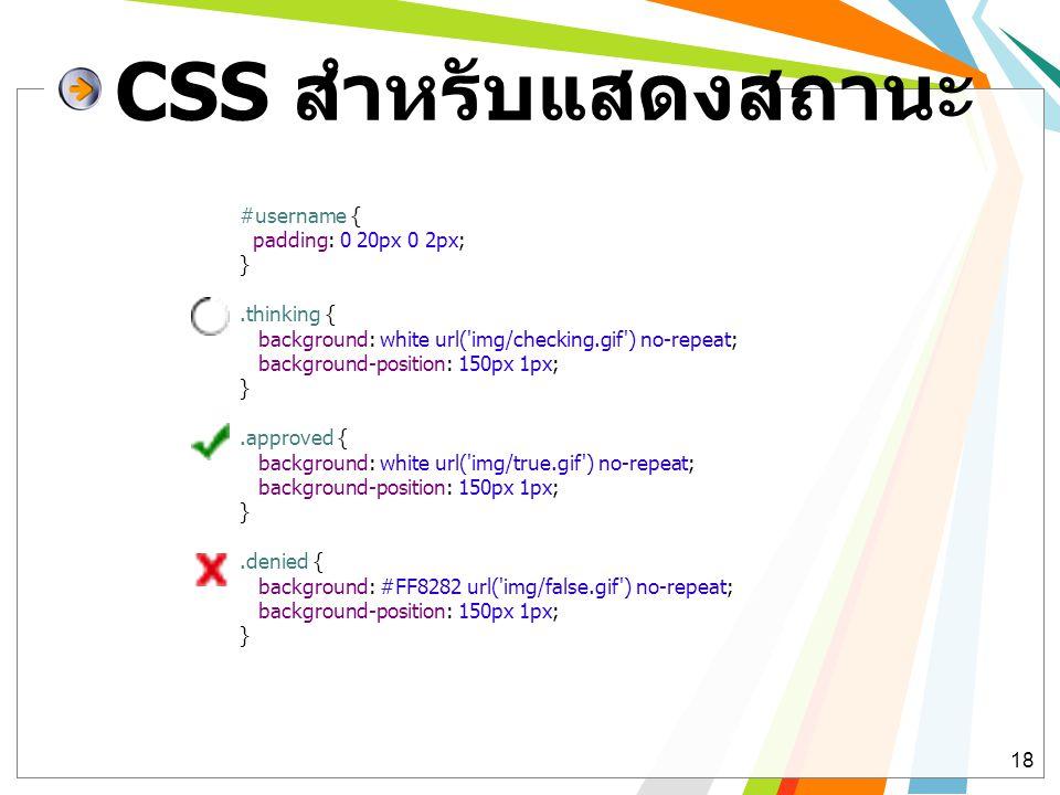CSS สำหรับแสดงสถานะ #username { padding: 0 20px 0 2px; } .thinking {