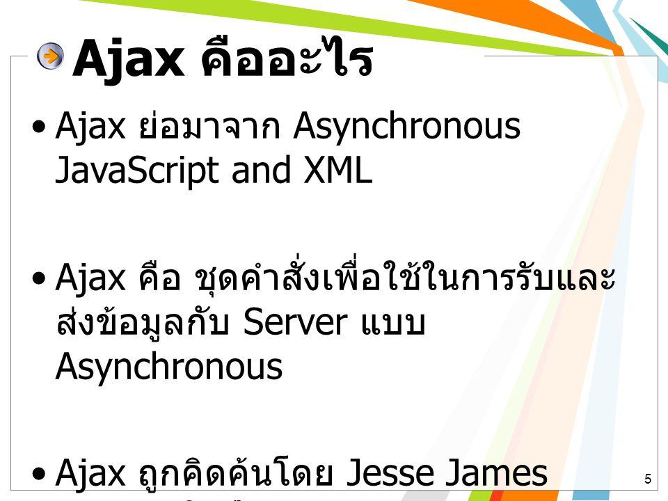 Ajax คืออะไร Ajax ย่อมาจาก Asynchronous JavaScript and XML