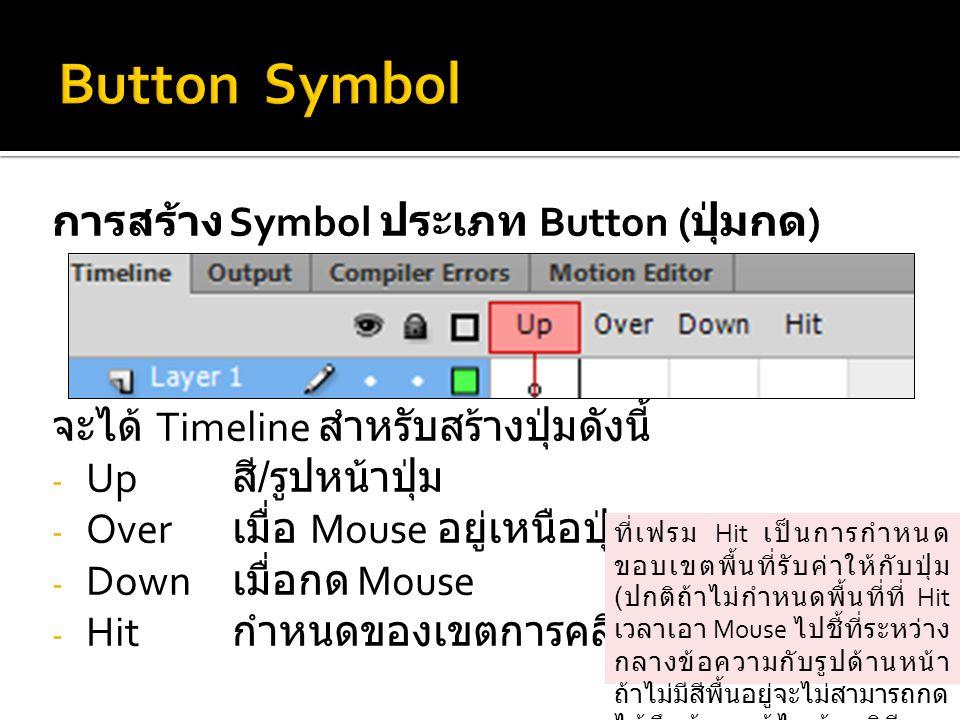 Button Symbol การสร้าง Symbol ประเภท Button (ปุ่มกด)