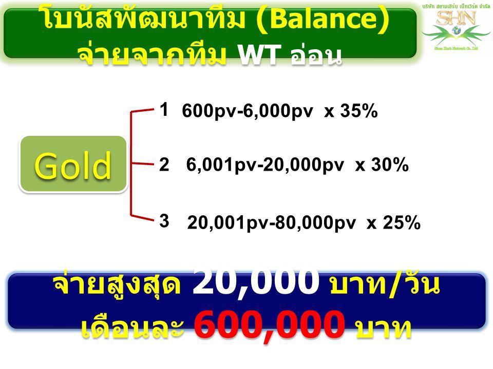 Gold โบนัสพัฒนาทีม (Balance) จ่ายจากทีม WT อ่อน