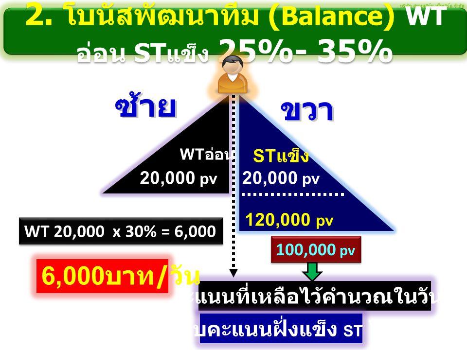 2. โบนัสพัฒนาทีม (Balance) WTอ่อน STแข็ง 25%- 35%