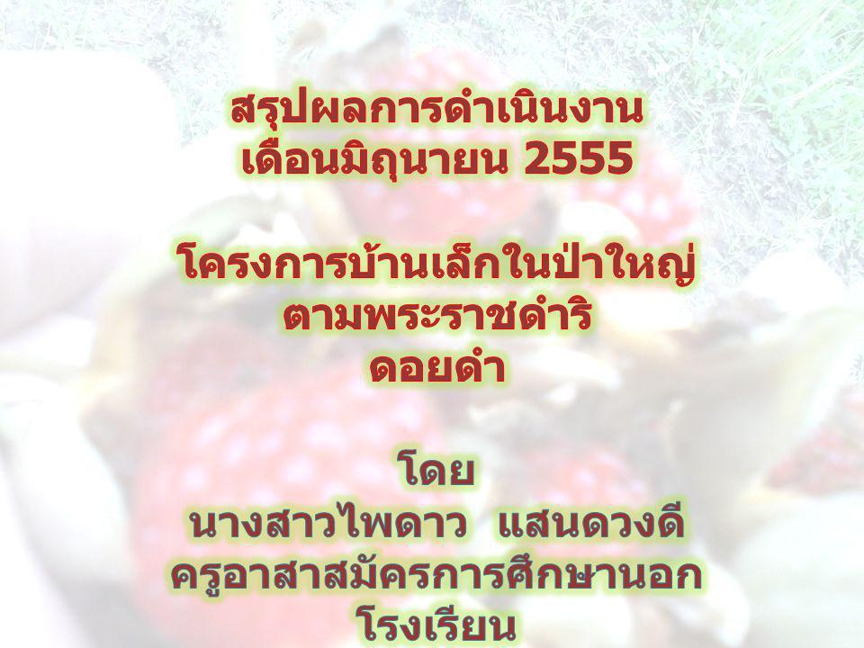 สรุปผลการดำเนินงาน เดือนมิถุนายน 2555
