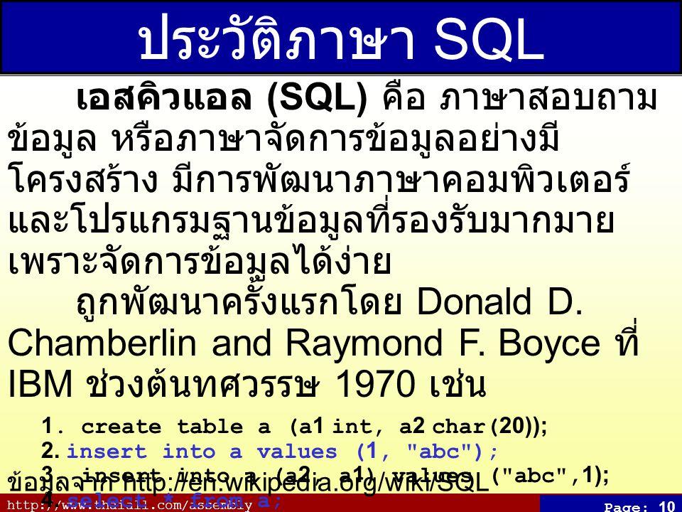 ประวัติภาษา SQL