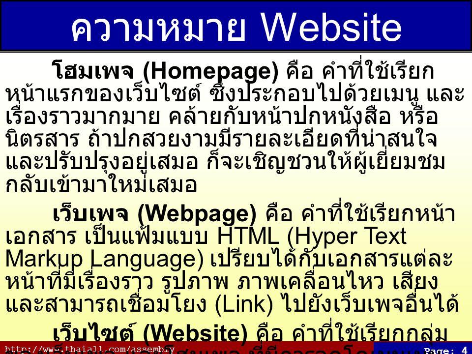 ความหมาย Website