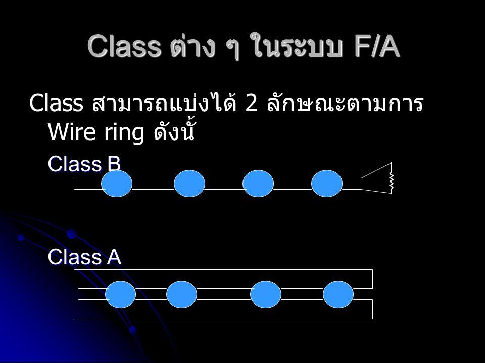 Class ต่าง ๆ ในระบบ F/A Class สามารถแบ่งได้ 2 ลักษณะตามการ Wire ring ดังนั้ Class B Class A