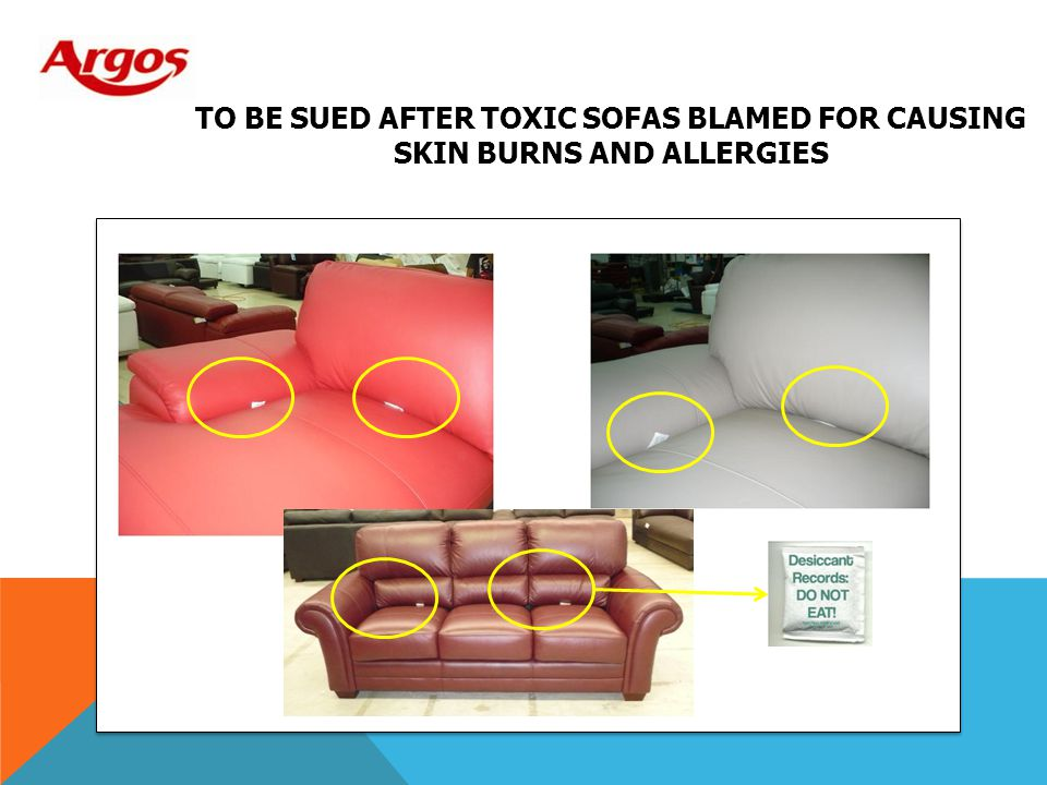 to be sued after toxic sofas blamed for causing skin burns and allergies