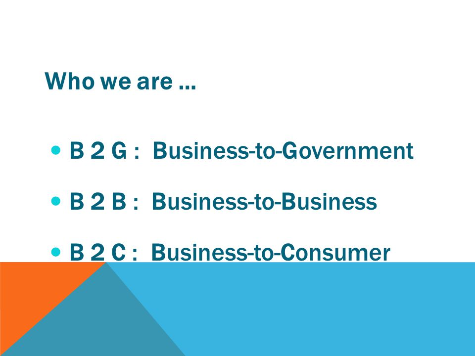 B 2 G : Business-to-Government B 2 B : Business-to-Business