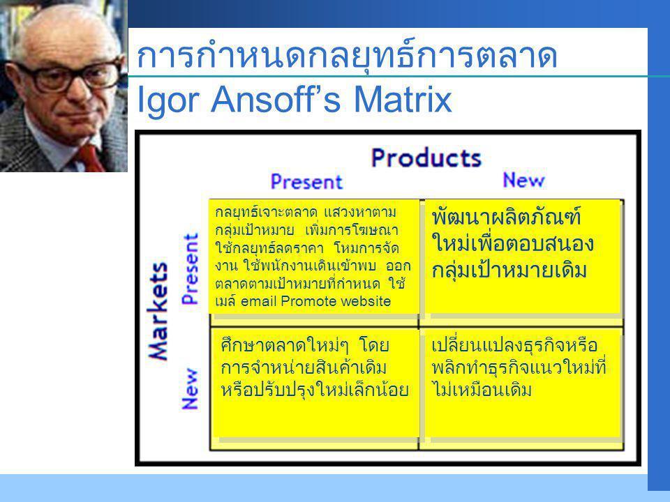 การกำหนดกลยุทธ์การตลาด Igor Ansoff's Matrix