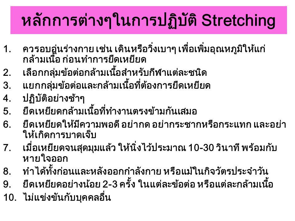 หลักการต่างๆในการปฏิบัติ Stretching