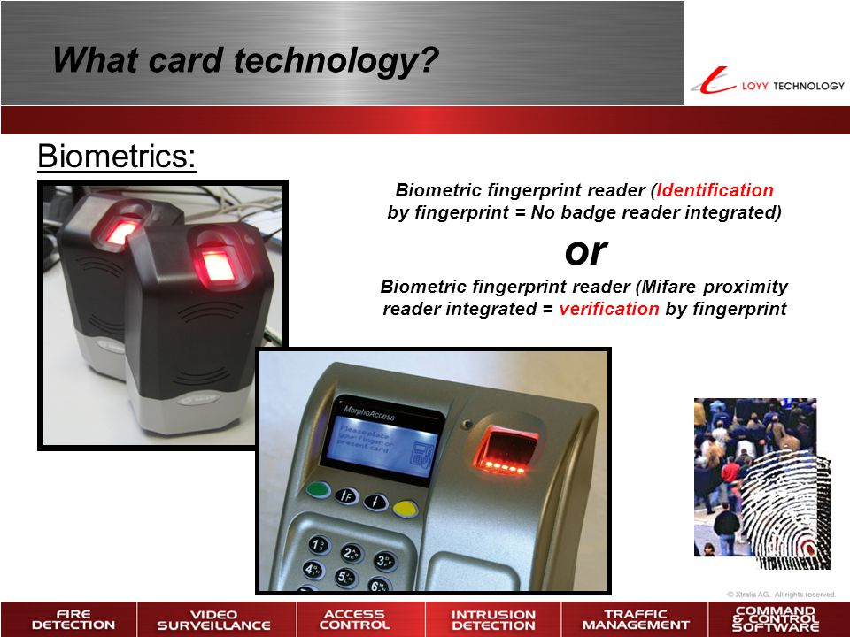 or What card technology Biometrics: