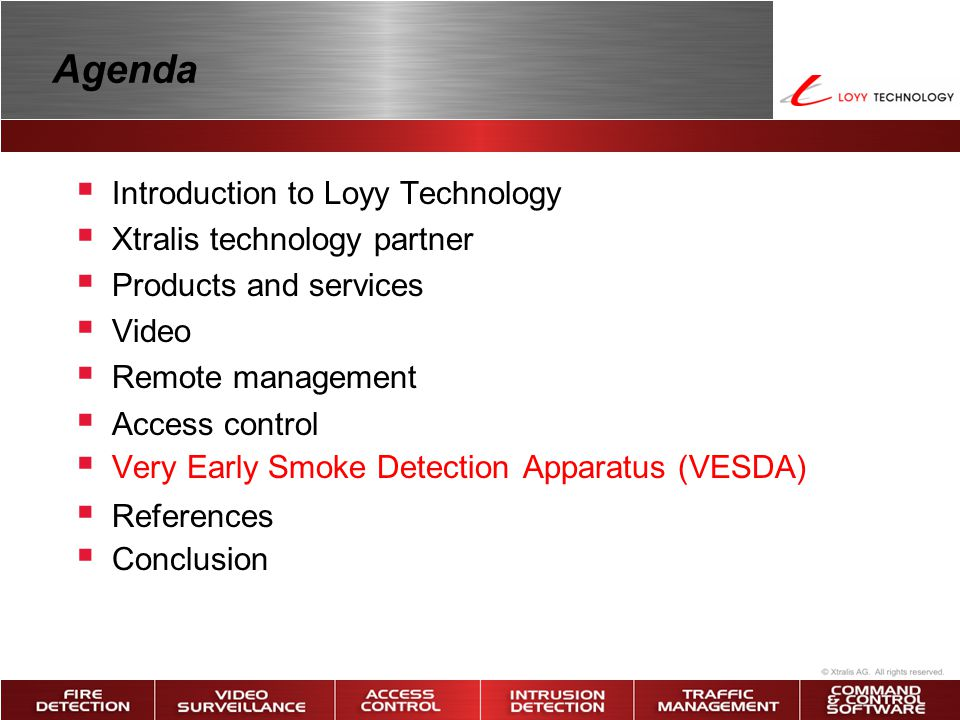 Agenda Introduction to Loyy Technology Xtralis technology partner