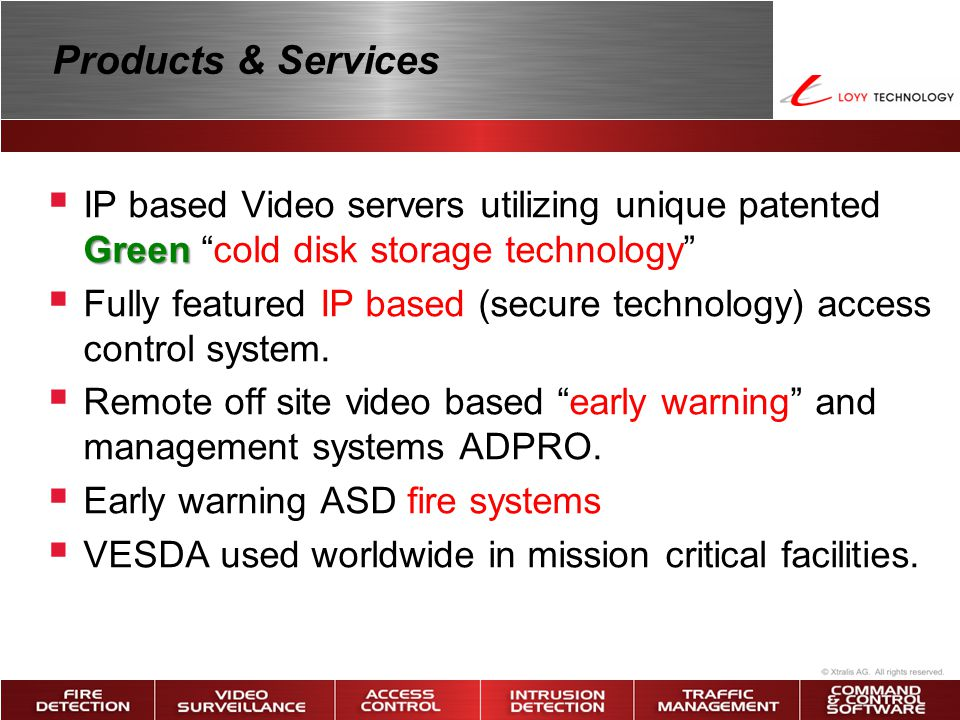 Products & Services IP based Video servers utilizing unique patented Green cold disk storage technology