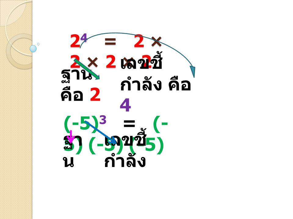 ฐาน คือ 2 เลขชี้กำลัง คือ 4 (-5)3 = (-5) (-5) (-5) ฐาน เลขชี้กำลัง