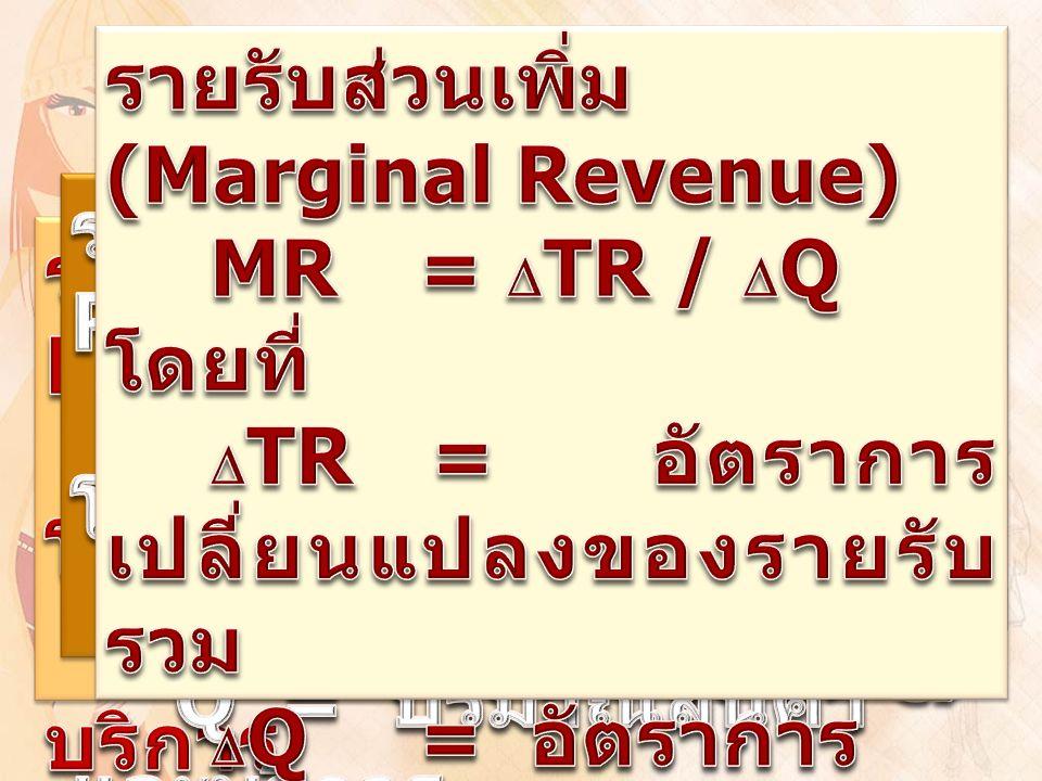 รายรับส่วนเพิ่ม (Marginal Revenue)