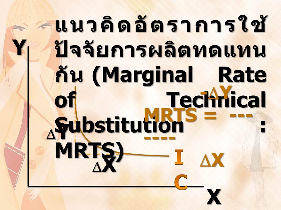 แนวคิดอัตราการใช้ปัจจัยการผลิตทดแทนกัน (Marginal Rate of Technical Substitution : MRTS)