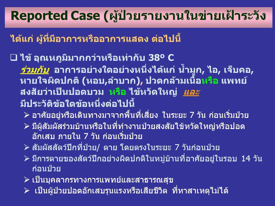 Reported Case (ผู้ป่วยรายงานในข่ายเฝ้าระวัง