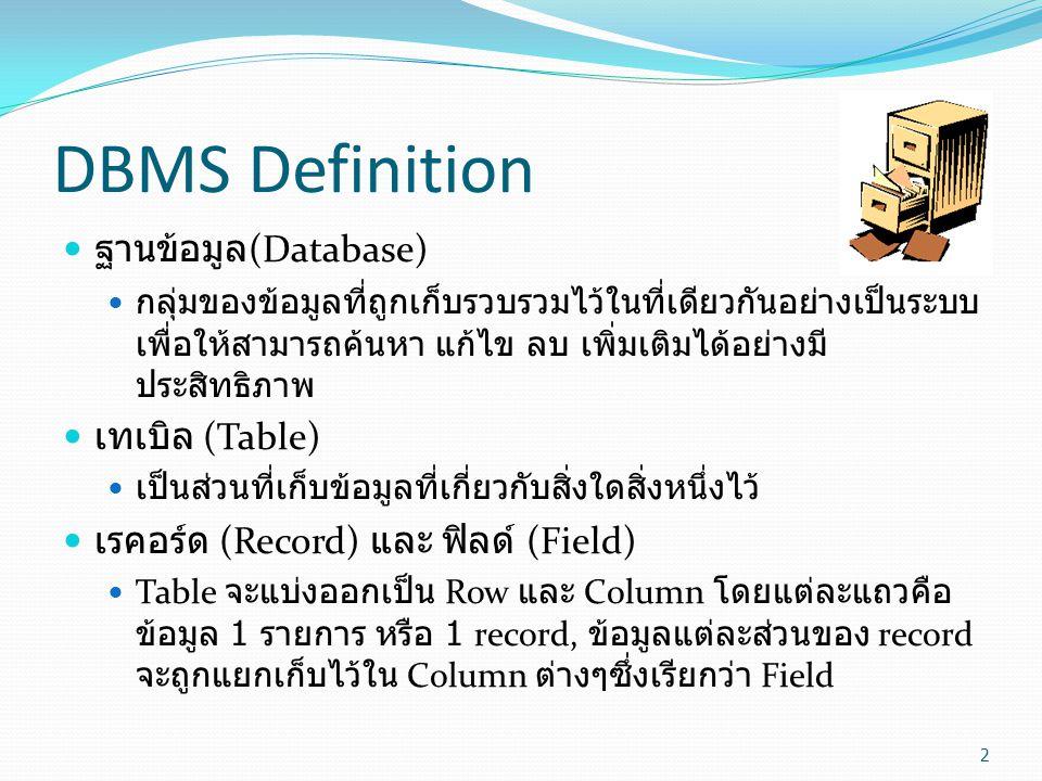 DBMS Definition ฐานข้อมูล(Database) เทเบิล (Table)