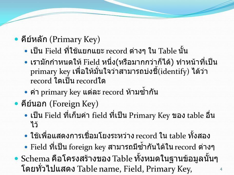 คีย์หลัก (Primary Key)