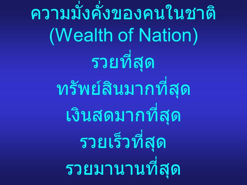 ความมั่งคั่งของคนในชาติ (Wealth of Nation)