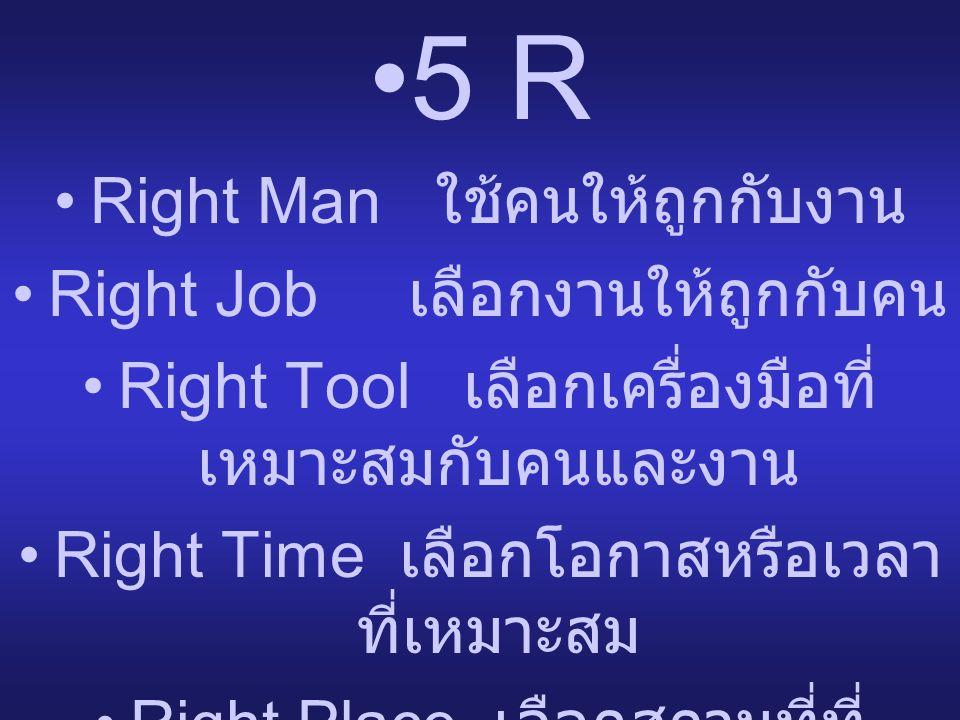 5 R Right Man ใช้คนให้ถูกกับงาน Right Job เลือกงานให้ถูกกับคน
