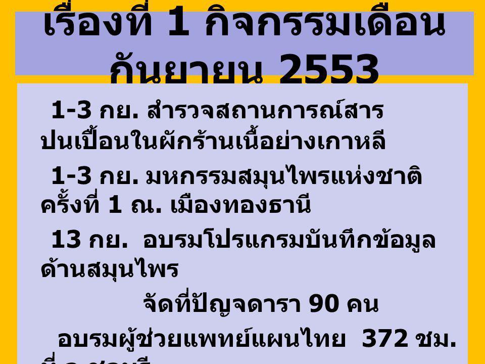 เรื่องที่ 1 กิจกรรมเดือนกันยายน 2553