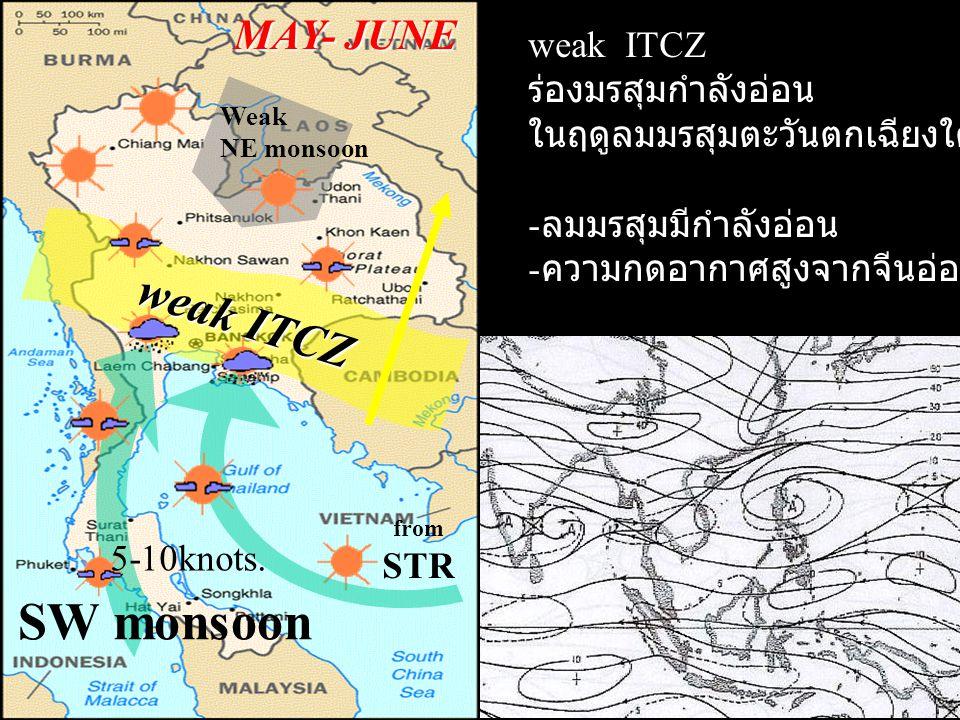 SW monsoon weak ITCZ MAY- JUNE weak ITCZ ร่องมรสุมกำลังอ่อน