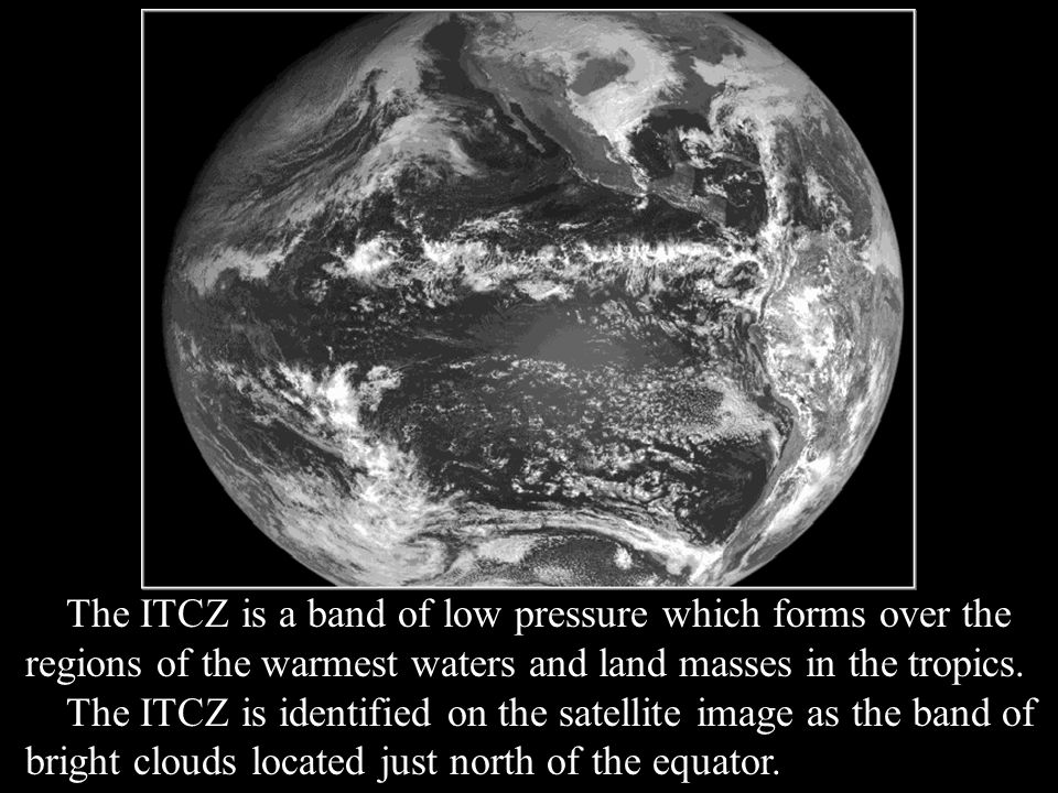 The ITCZ is a band of low pressure which forms over the