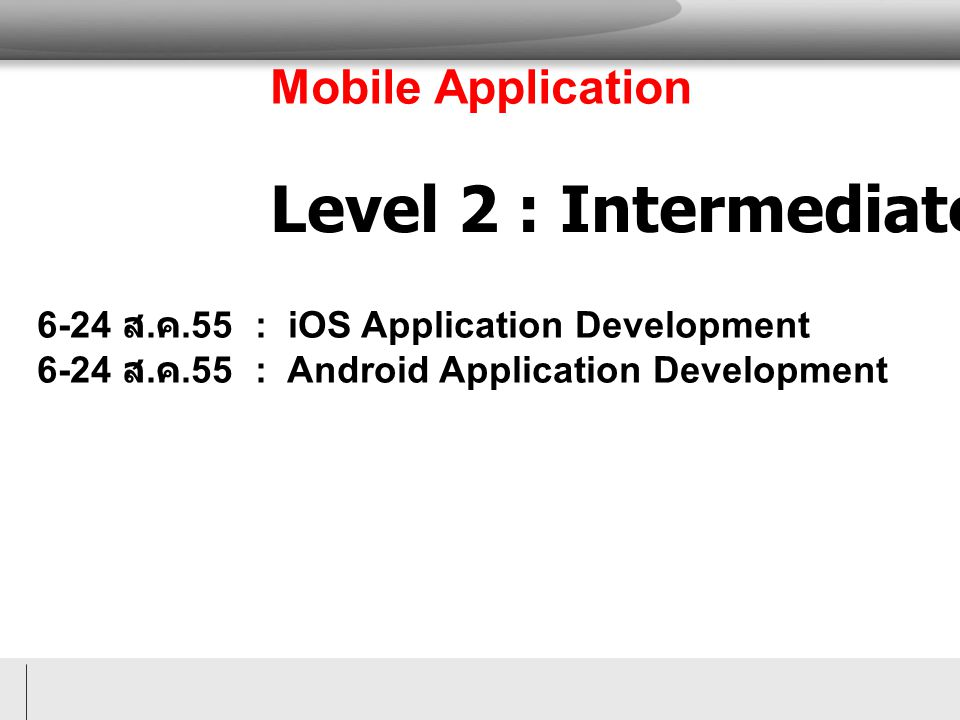 Level 2 : Intermediate Mobile Application