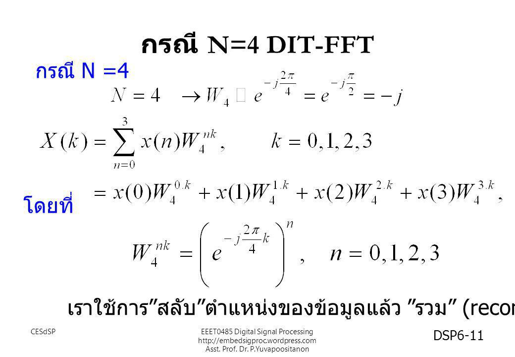 กรณี N=4 DIT-FFT กรณี N =4 โดยที่