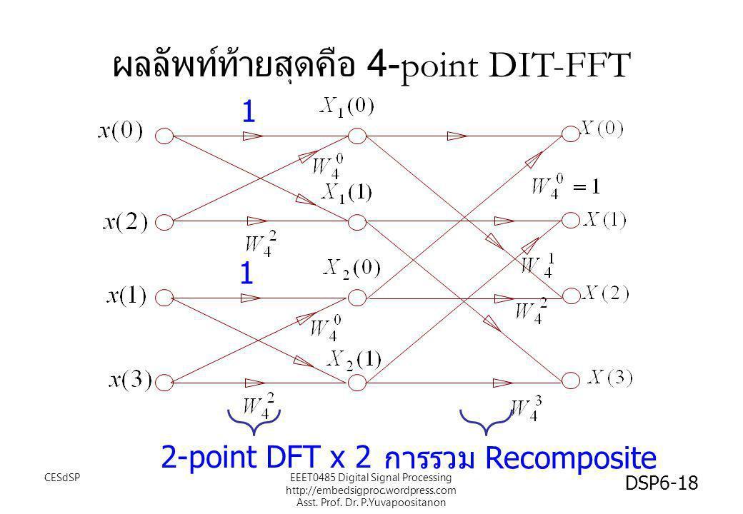 ผลลัพท์ท้ายสุดคือ 4-point DIT-FFT