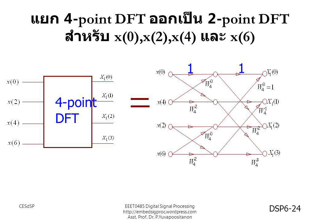แยก 4-point DFT ออกเป็น 2-point DFT สำหรับ x(0),x(2),x(4) และ x(6)