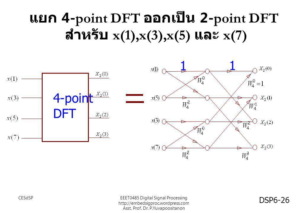 แยก 4-point DFT ออกเป็น 2-point DFT สำหรับ x(1),x(3),x(5) และ x(7)