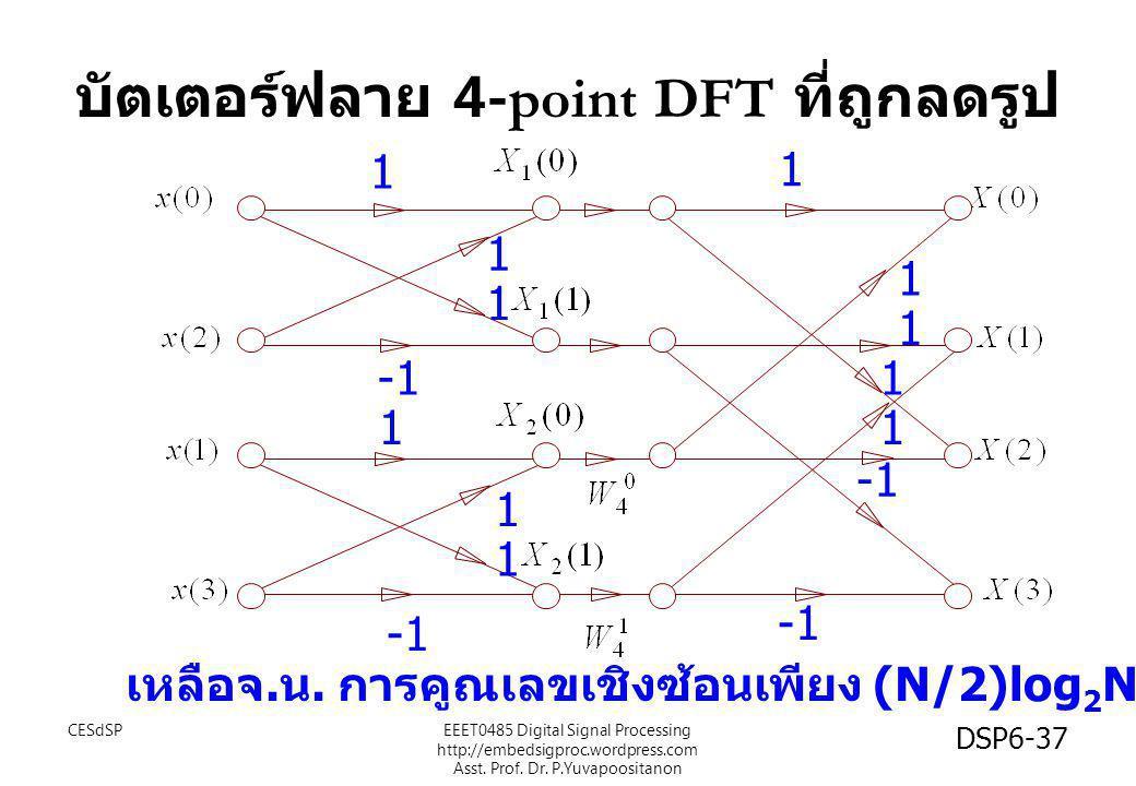 บัตเตอร์ฟลาย 4-point DFT ที่ถูกลดรูป