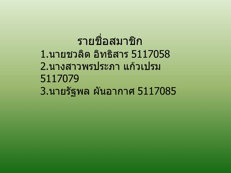 รายชื่อสมาชิก 1.นายชวลิต อิทธิสาร 5117058