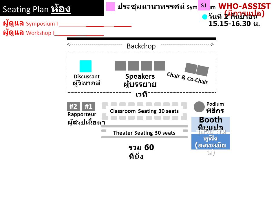 WHO-ASSIST (มีการแปล) Classroom Seating 30 seats