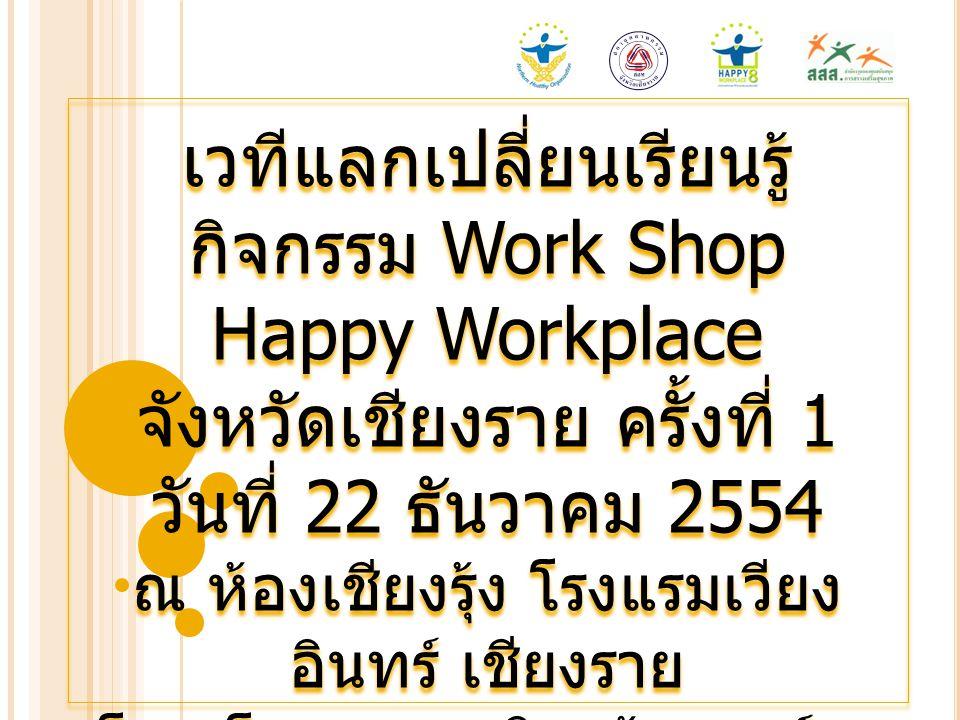 เวทีแลกเปลี่ยนเรียนรู้กิจกรรม Work Shop Happy Workplace