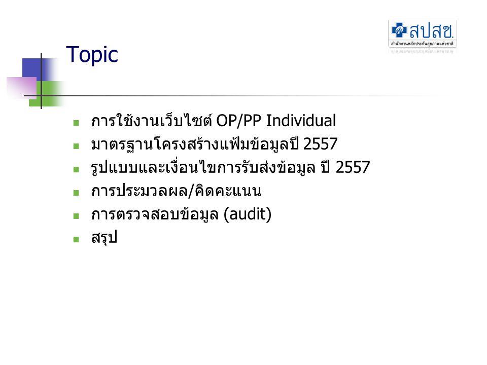 Topic การใช้งานเว็บไซต์ OP/PP Individual