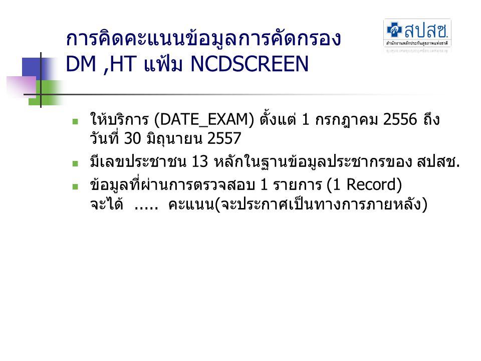 การคิดคะแนนข้อมูลการคัดกรอง DM ,HT แฟ้ม NCDSCREEN