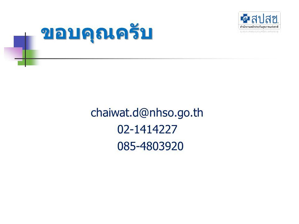 ขอบคุณครับ chaiwat.d@nhso.go.th 02-1414227 085-4803920